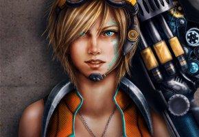 Обои арт, Trixia Quinzon, девушка, очки, оружие, кулон, узор, тату