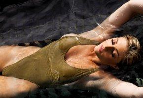 Обои блондинка, вода, бассейн, купальник, девушка, мокрая