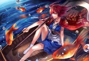 Обои girl, river, boat, fish, painting, anime, река, лодка, рыбки