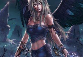 Обои фантастика, девушка, ангел, крылья, взгляд, оружие