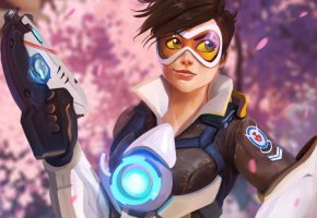 Обои Overwatch, Tracer, Blizzard Entertainment, Game