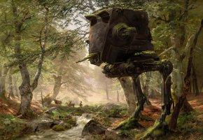 Обои AT-ST, robot, Walker, art, star wars, лес, деревья, олени
