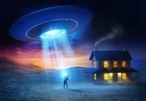 Обои UFO, человек, дом, НЛО, свет