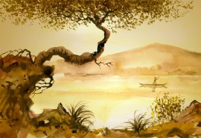 Обои культура, Китай, рисунок, tree, grass, Chinese, river