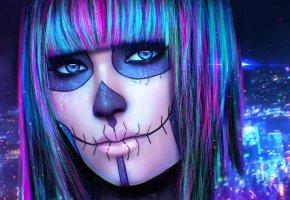Обои cyberpunk, девушка, арт, лицо, макияж, череп, глаза, взгляд