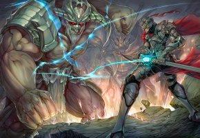 Обои чудовище, монстр, воин, меч, битва, доспех, шлем, фантазия