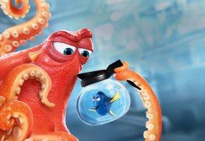Обои Finding Dory, Finding Nemo, Sequel, Animation, Movie, Film, 2016, year, Ellen DeGeneres, Dory, Ed O\'Neill, Hank, Walt Disney Pictures, Pixar Animation