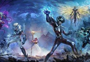 Обои аниме, фантазия, герои, доспехи, магия, башня, небо, облака, войны