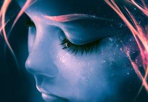 Обои Космос, лицо, девушка, девочка, ресницы, звезды, небо, галактика, черты лица