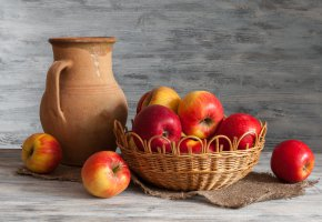 Обои кувшин, яблоки, натюрморт, корзина