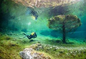 Обои под водой, Австрия, зеленое озеро, дайвинг, красиво, потоп