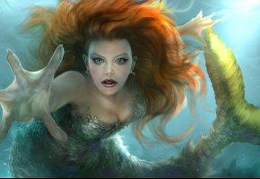Обои арт, русалка, взгляд, волосы, рука, плавник, хвост, вода