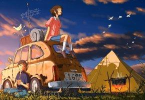 Обои Двое, машина, палатка, костер, вечер, антенна, небо, птицы, флюгер, книга