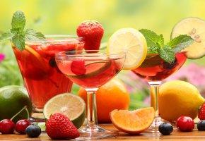 Обои вкусно, ягоды, фрукты, коктейли, цитрус