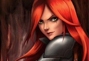 Обои League of Legends, арт, Katarina, красные волосы, взгляд
