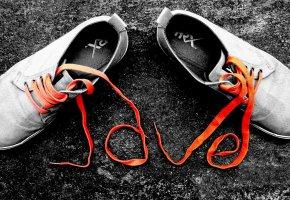 Обои shoes, laces, orange, обувь, шнурки, оранжевые