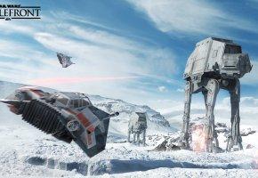 Обои game, star wars, battlefront, звездные войны, танк, космолет