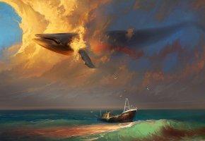 Обои небо, корабль, кит, море, сюрреализм, чайки, облака, Арт