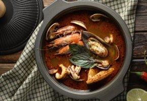 Обои суп, морепродукты, креветки, моллюски