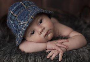 Обои младенец, ребенок, дитя, мальчик, шапочка, портрет, лицо