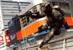 Обои Battlefield 4, солдат, прыжок, оружие
