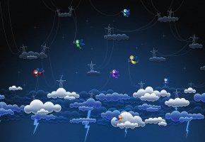 Обои Электричество, феи, молнии, облака, провода