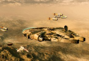 Обои Звездные Войны, Тысячелетний Сокол, Хан Соло, Люк Скайуокер, Star Wars, Luke Skywalker, Han Solo, Millennium Falcon
