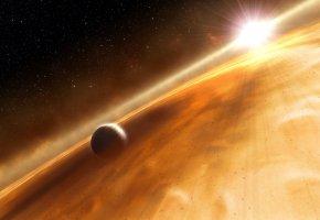 Обои cloud, planet, star, свечение, планеты, звезды