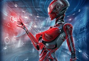 Обои Робот, Андроид, Android, Gynoid, Гиноид, девушка, голограмма, cyberpunk, киберпанк