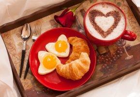 Обои rose, flower, holiday, Valentine\'s Day, выпечка, круассан, завтрак, кофе, чашка, сердце, роза