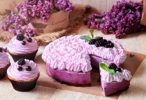Обои торт, крем, ягоды, сладкое, вкусно
