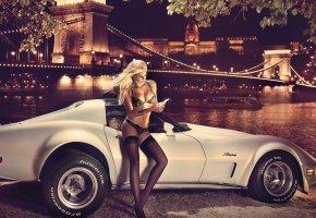 Обои блондинка, авто, город, девушка, чулки, бельё, красавица