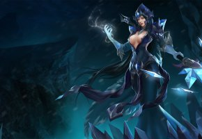 Обои Black Ice Ellonia, hon, Ellonia, Heroes of Newerth, девушка, маг, магия