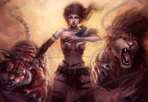 Обои фэнтези, арт, Лев, Тигр, девушка, цепи