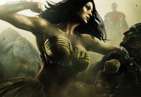 Обои Injustice, Gods Among Us, Wonder women, batman, игра, герои