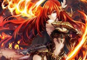 Обои anime, girl, firesword, девушка, меч, огонь, магия