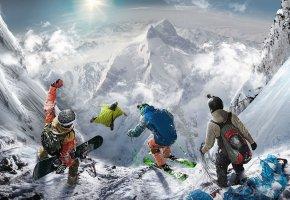 Обои Steep, Ubisoft, Game, Горы, Снег, парашют, лыжи, прыжок