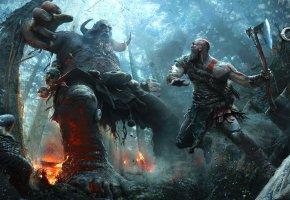 Обои God Of War, 2017, Kratos, Кратос, Воин, Спартанец, битва