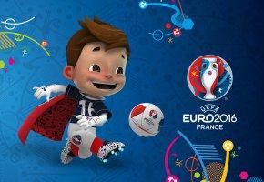 Обои евро 2016, UEFA, euro 2016, логотип, талисман, Супер Виктор, мяч