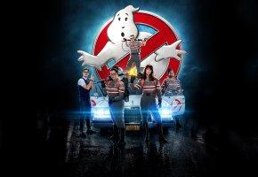 Обои Ghost, busters, Movie, Film, Охотники за привидениями, девушки, парень, машина