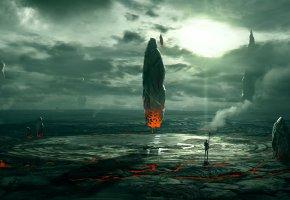 Обои планета, арт, искусство, руины, космос, инопланетяне, фантастика