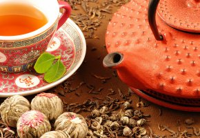 Обои Чайник, чашка, чай, блюдце