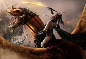 Обои дракон, девушка, меч, фантастика, полет