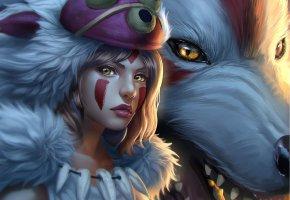 Обои Princess Mononoke, арт, аниме, белый волк, девушка, взляд