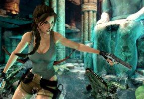 Обои lara croft, tomb raider, крокодил, девушка, пистолет