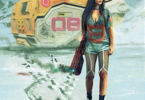 Обои девушка, космический корабль, звездолёт, оружие, фантастика
