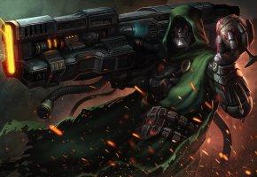 Обои sci-fi, фантастика, арт, Doctor Doom, плащ, оружие