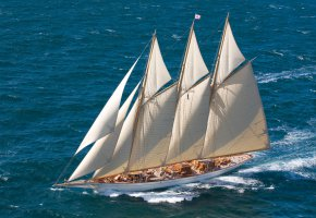 Обои корабль, парусник, море, волны, ветер