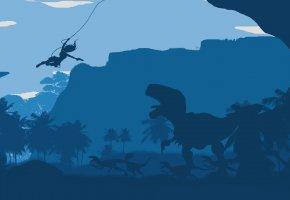 Обои Tomb Raider, anniversary, динозавр, лиана, деревья
