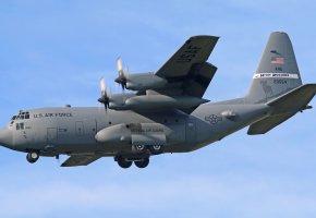 Обои C-130H, самолёт, армия, полет, винты